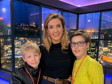 Tessy Antony de Nassau In Studio Smiling With Her 2 Sons With City of Luxembourg In The Background