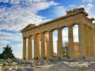 Acropolis With Blue Skies Athens Greece