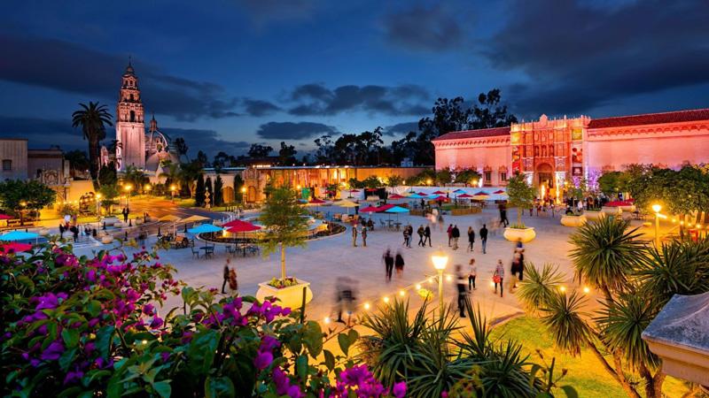 Illuminated Balboa Park San Diego California At Night
