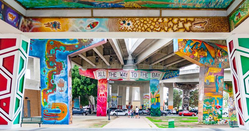 Street Art Graffiti Under Bridge At Chicano Park San Diego California