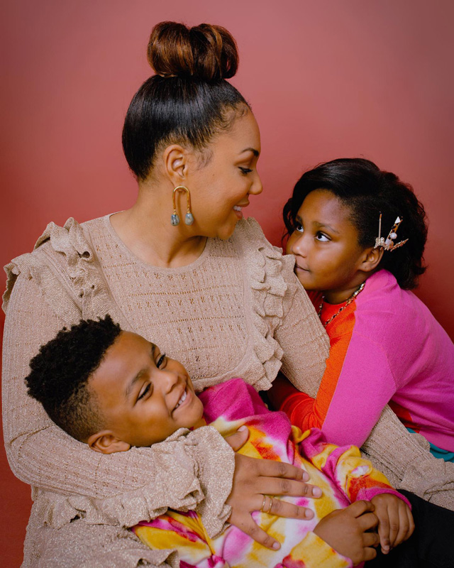 Christine Michel Carter Hugging Her Son And Daughter
