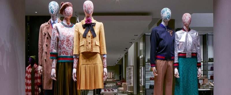 Gucci Store Window With Mannequins On Voukourestiou Street Athens Greece