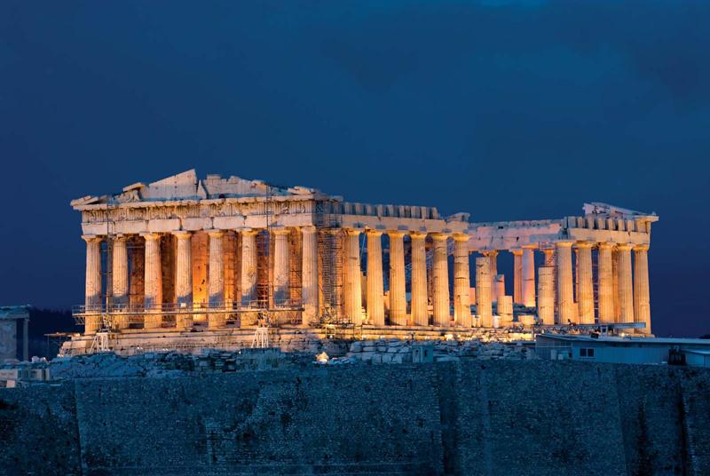 Night Time Acropolis Athens Greece