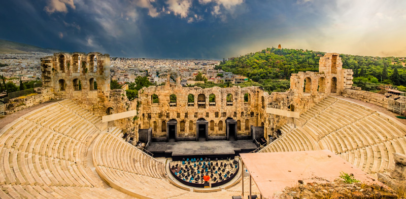 Arial View Of Odeum Of Herodes Athens Greece