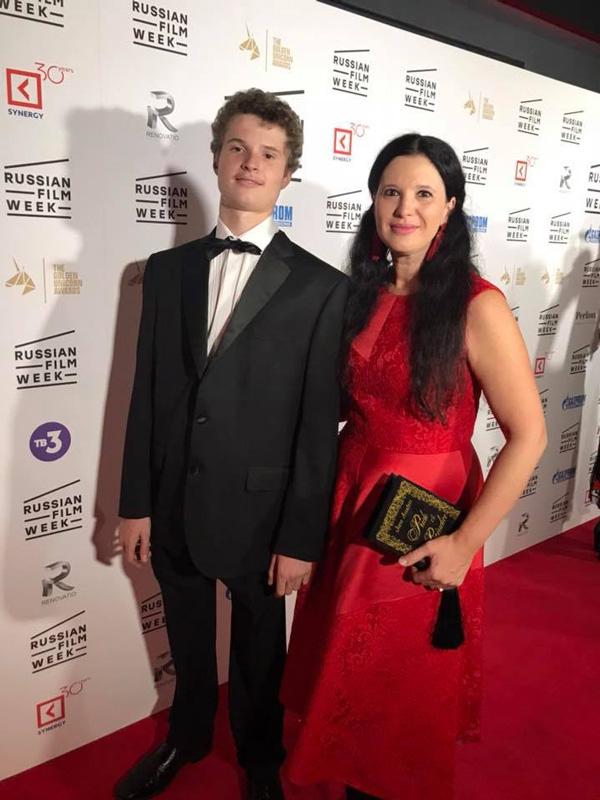 Olga Balakleets On Red Carpet with her son John Gallant attending Attending Russia Film Week in London
