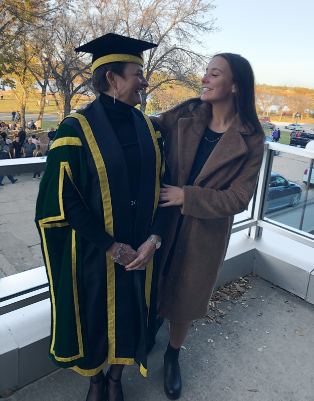 Pam Klein With Daughter Dressed In University Graduate Uniform And Becoming Chancellor At TheUniversity of Regina Canada