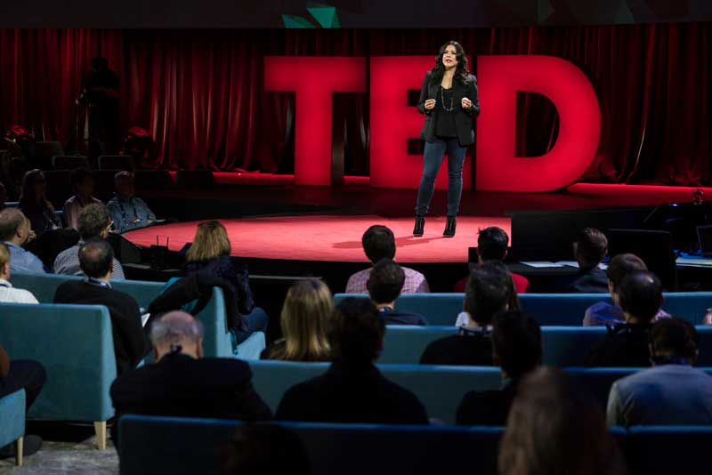 Reshma Saujani Speaking On Stage At Ted Event