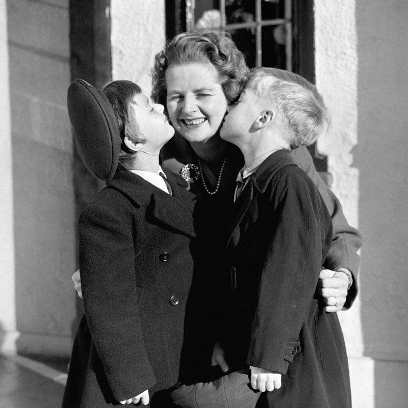 Margaret Thatcher Being Kissed On The Cheeks By Her Two Children
